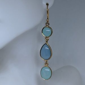 Jewelry - Long Sterling Silver Gold Chalcedony Earrings
